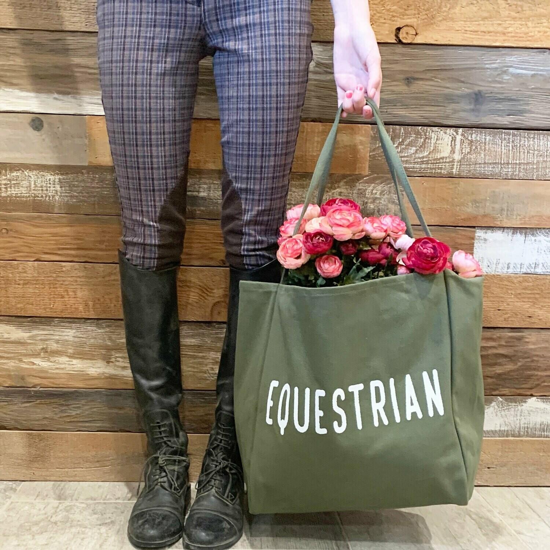 Equestrian Canvas Tote Bag
