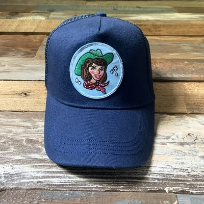 Navy Cowgirl Trucker Hat - Brunette