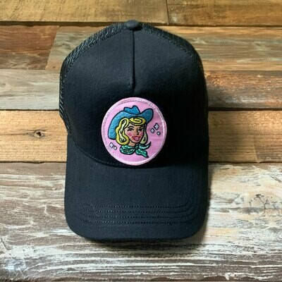 Black Cowgirl Trucker Hat - Blonde