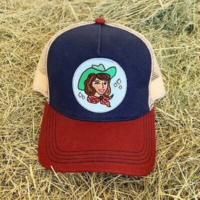 Red White and Blue Cowgirl Trucker Hat - Brunette
