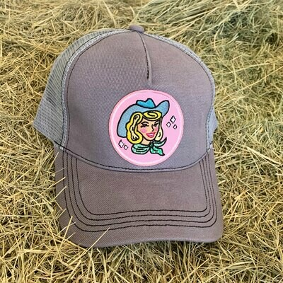 Gray Cowgirl Trucker Hat - Blonde