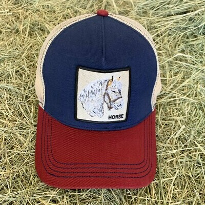 Red, White and Blue Horse Trucker Hat