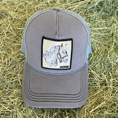 Gray Horse Trucker Hat