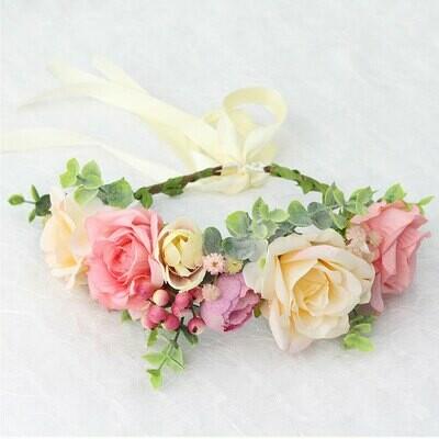 Pink with Pink Berries Floral Crown