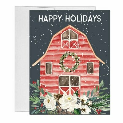 Christmas Barn Watercolor Holiday Cards