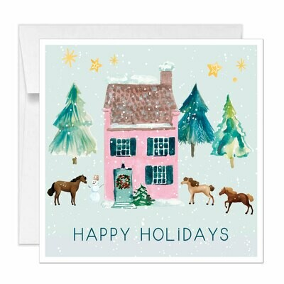 Square Horse Holiday Cards Equestrian Christmas Card Farm Scene