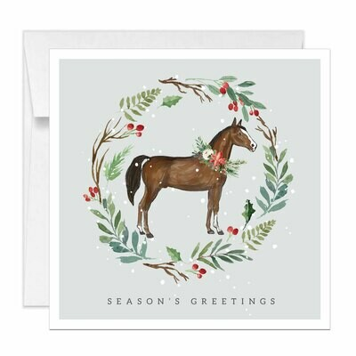 Square Horse Holiday Cards Equestrian Christmas Card Watercolor
