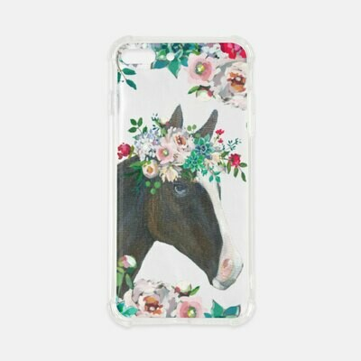 Beau Horse Floral Clear Cell Phone Cover Case