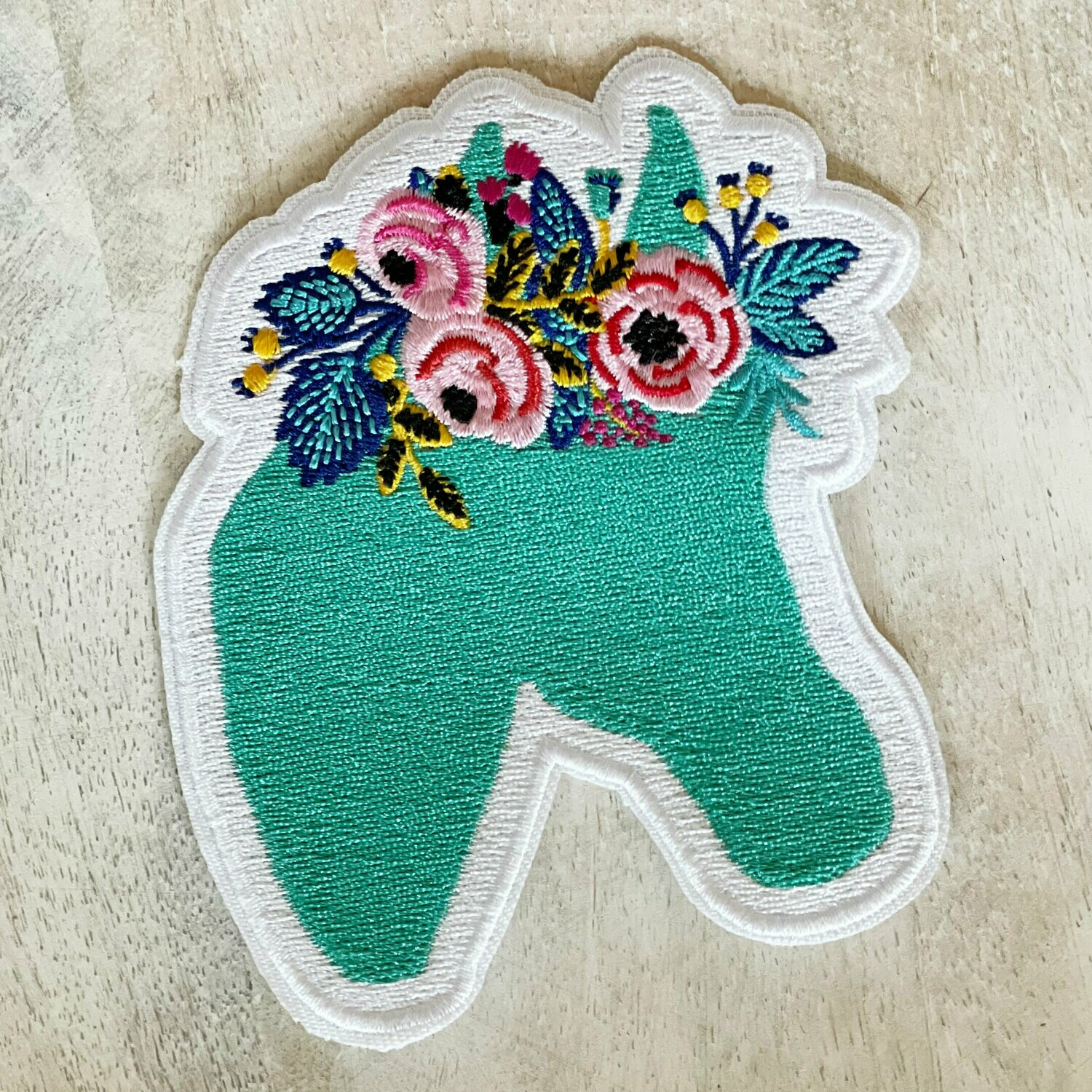 Blue Floral Horse Logo Embroidered Patch