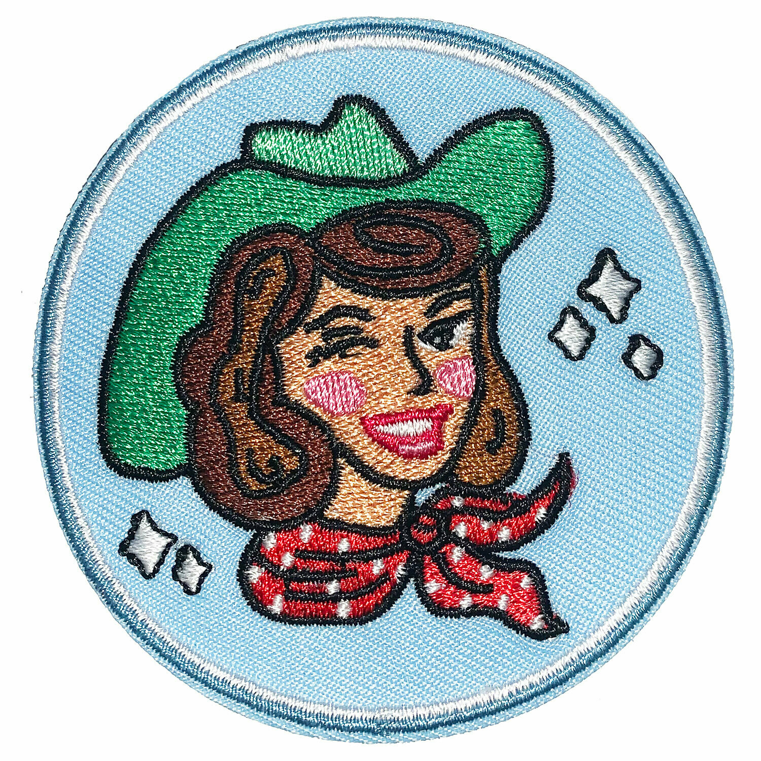 Brunette on Blue Cowgirl Embroidered Patch