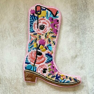 Pink Floral Cowboy Boot Embroidered Patch