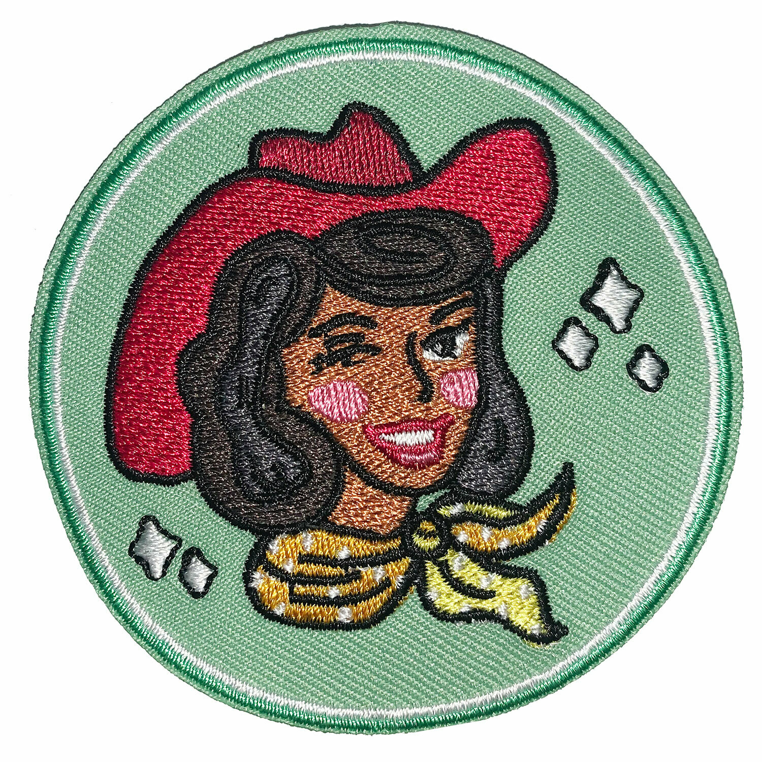 Dark on Green Cowgirl Embroidered Patch