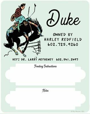 Custom Cowboy Horse Stall Sign
