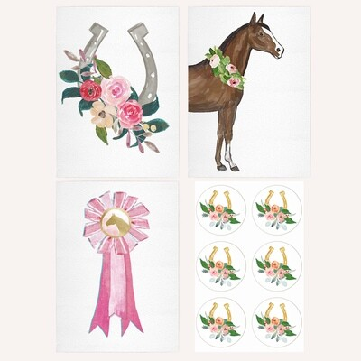 Set of 6 Pink Equestrian Note Cards