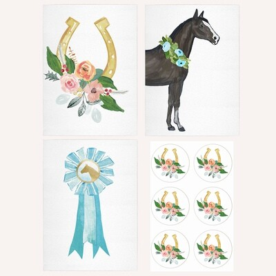 Set of 6 Blue Equestrian Note Cards