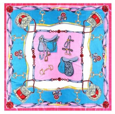 Pink and Blue Saddles Scarf