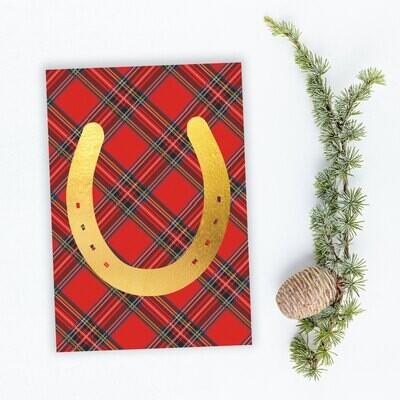 Gold Foil Horseshoe Plaid Holiday Cards