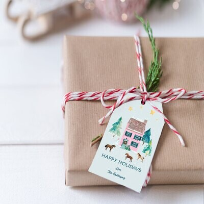 Holiday Pink Farmhouse hanging Gift Tags