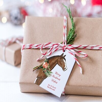 Holiday Horse hanging Gift Tags - Choose Breed