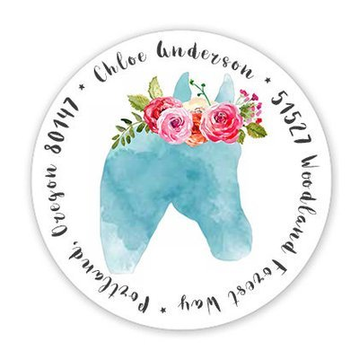 Watercolor Horse with Roses Round Address Label