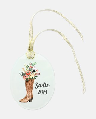 Oval Glass Cowboy Boot Ornament