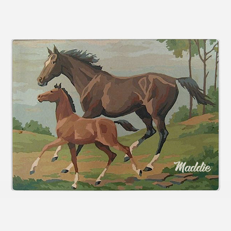 Two Horses Glass Cutting Board