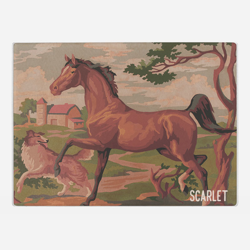 Horse and dog Glass Cutting Board