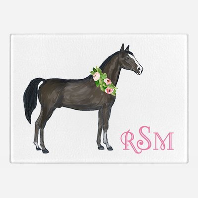 Watercolor Horse Glass Cutting Board