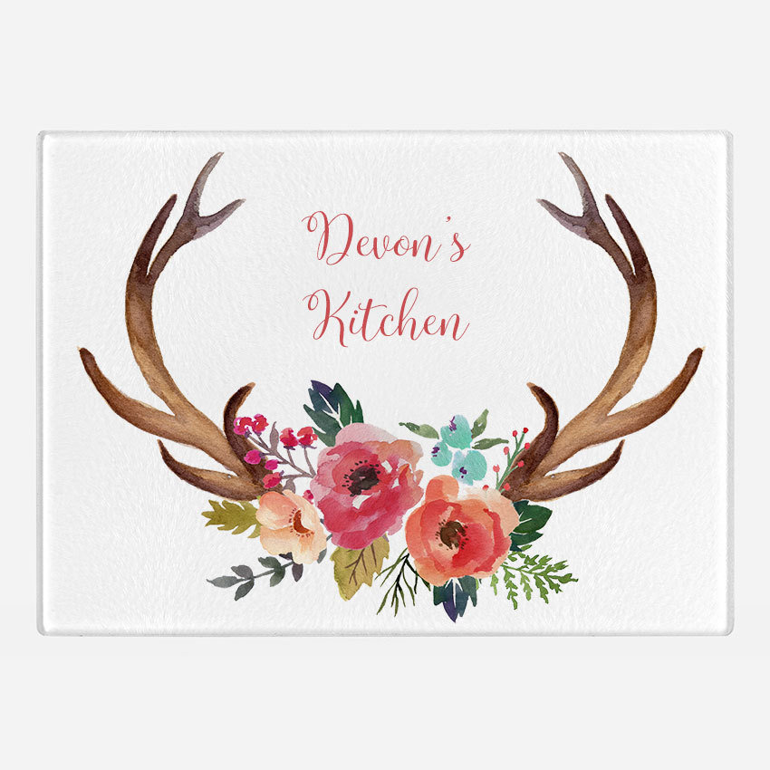 Boho floral antlers Glass Cutting Board
