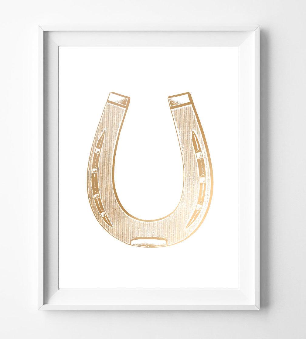 Equestrian Horseshoe Foil Art Print