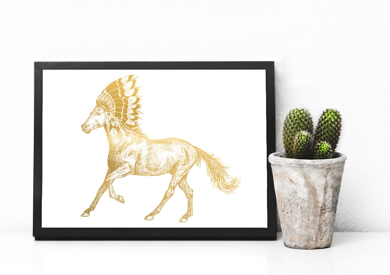Horse in Indian Headdress Foil Art Print