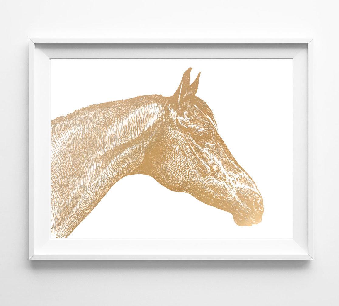Beautiful Horse Face Foil Art Print
