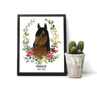 Personalized Horse Gift Print of Watercolor Horse with Spring floral wreath Memorial