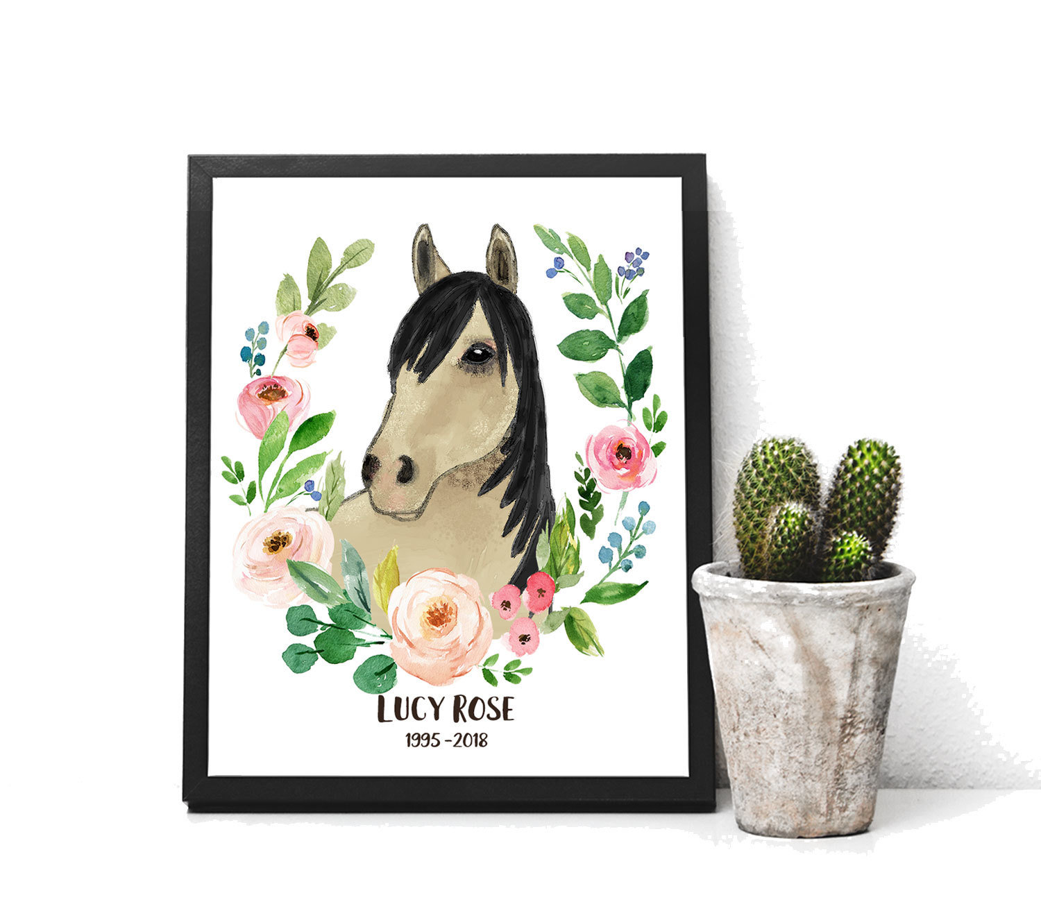 Personalized Horse Gift Print of Watercolor Horse with Roses wreath Memorial