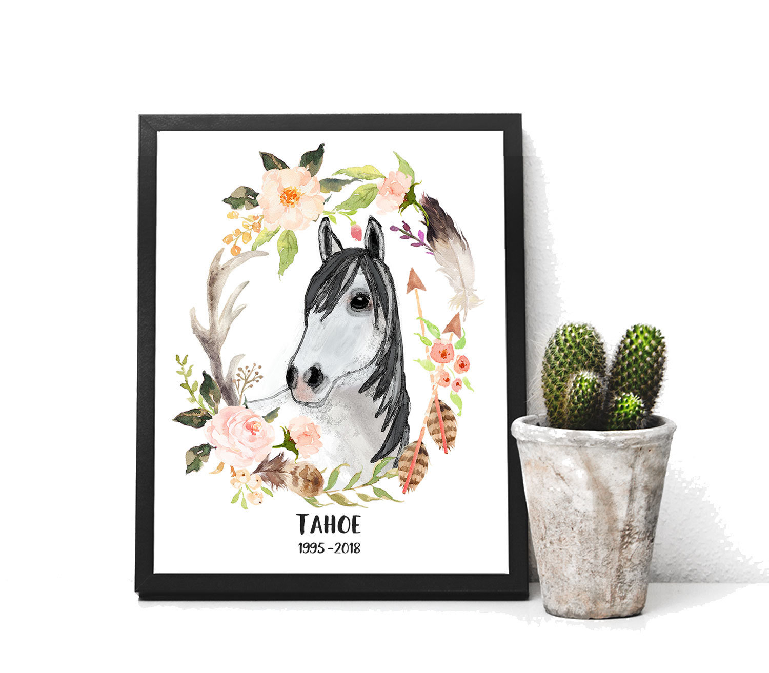 Personalized Horse Gift Print of Watercolor Horse with Southwest wreath Memorial