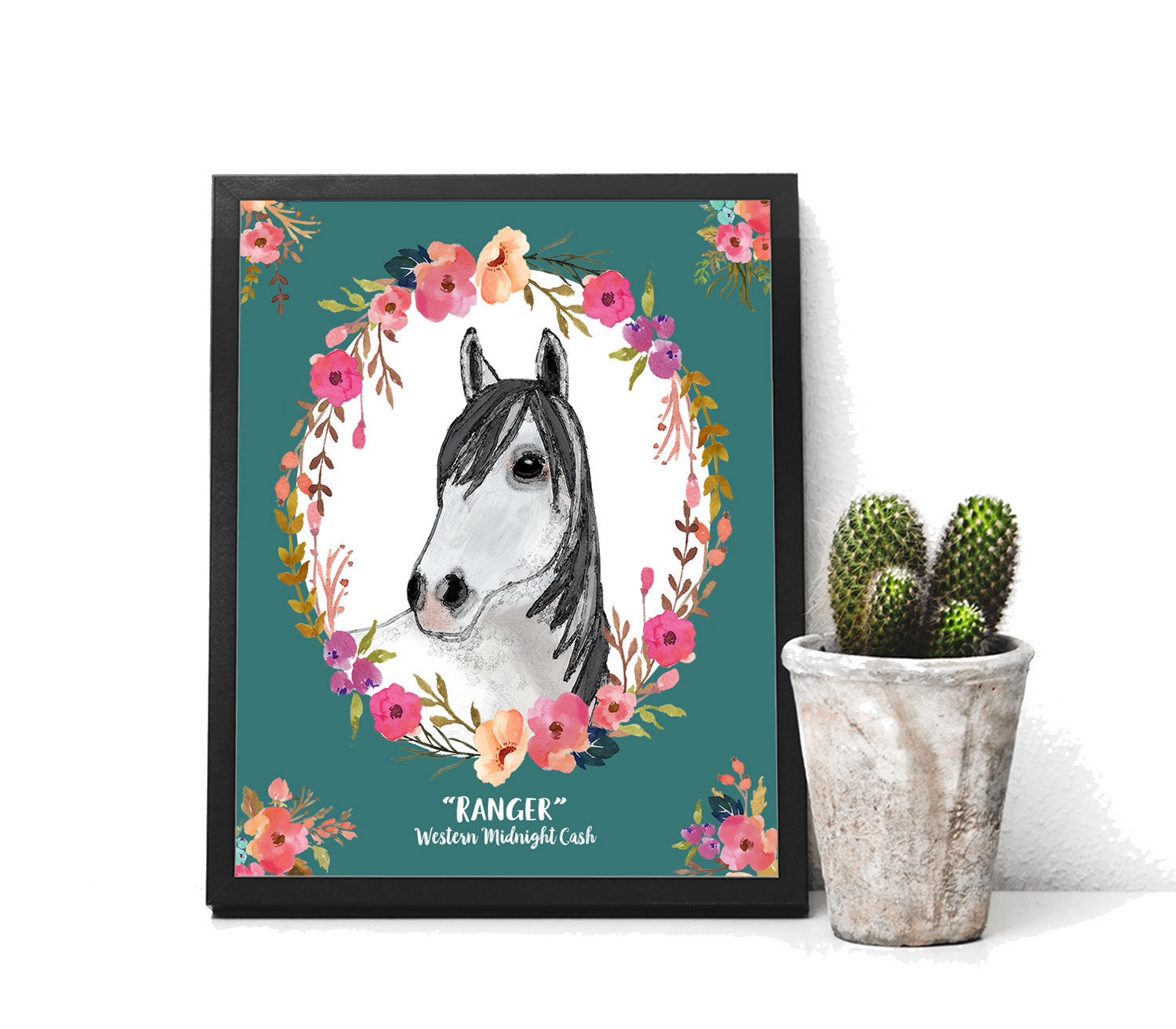 Personalized Horse Gift Print of Watercolor Horse with Flowers Horse Memorial