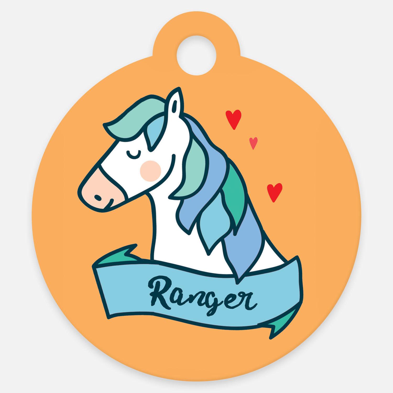 Blue Magical Horse ID Tag Halter Tag Bridle Tag Saddle Tag