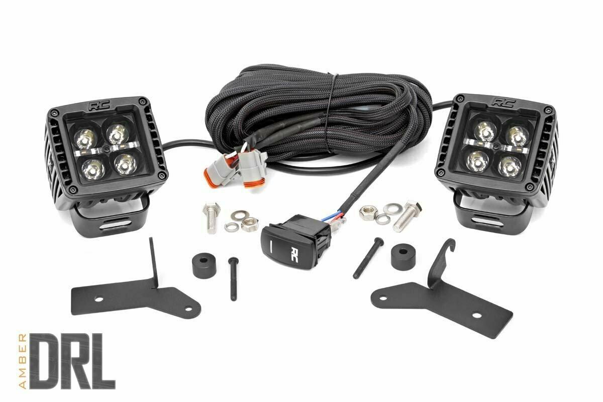 Jeep 2-inch LED Lower Windshield Kit (18-20 Wrangler JL, 2020 Gladiator JT | Black-Series w/ Amber DRL)
