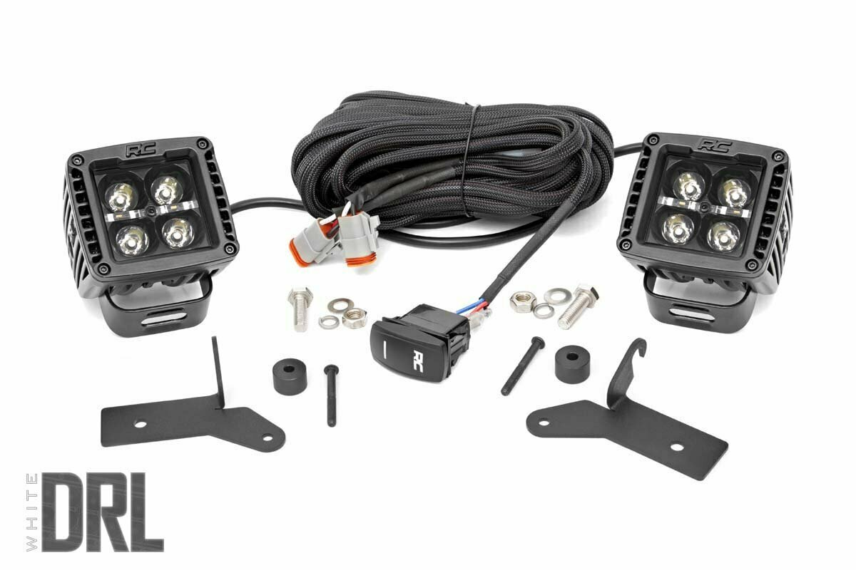Jeep 2-inch LED Lower Windshield Kit (18-20 Wrangler JL, 2020 Gladiator JT | Black-Series w/ White DRL)