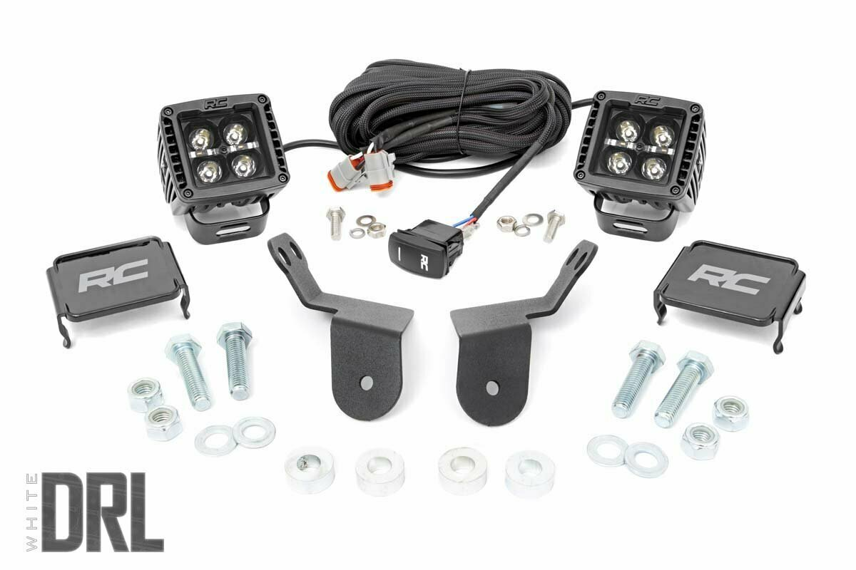 Honda Dual LED Cube Kit | 2in Black Series w/ White DRL (16-20 Pioneer)