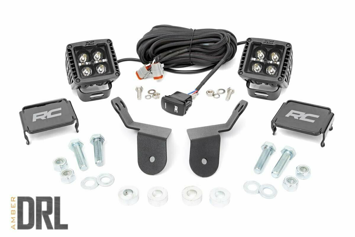 Honda Dual LED Cube Kit | 2in Black Series w/ Amber DRL (16-20 Pioneer)