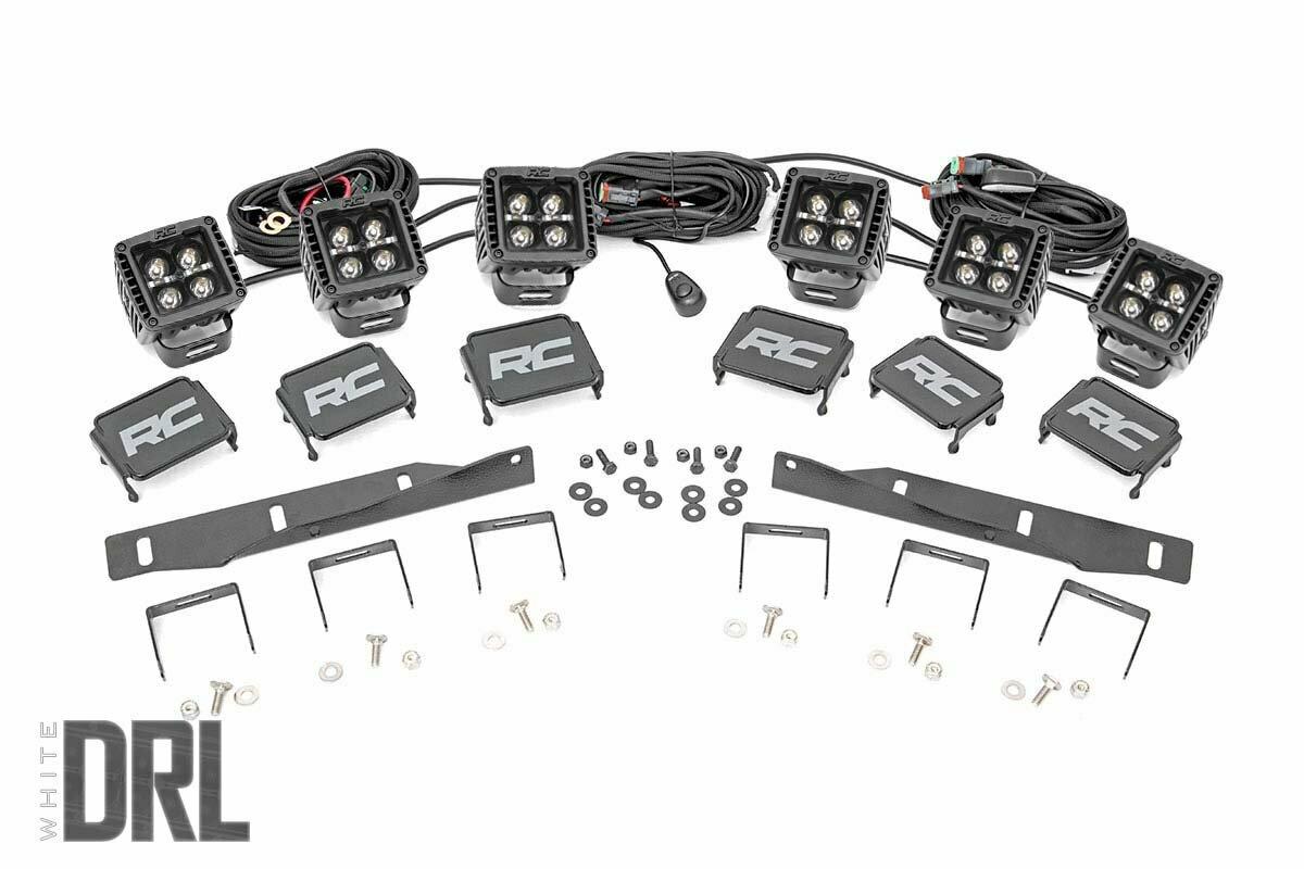 Ford Triple LED Fog Light Kit   Black Series w/ White DRL (17-19 F-150 Raptor)