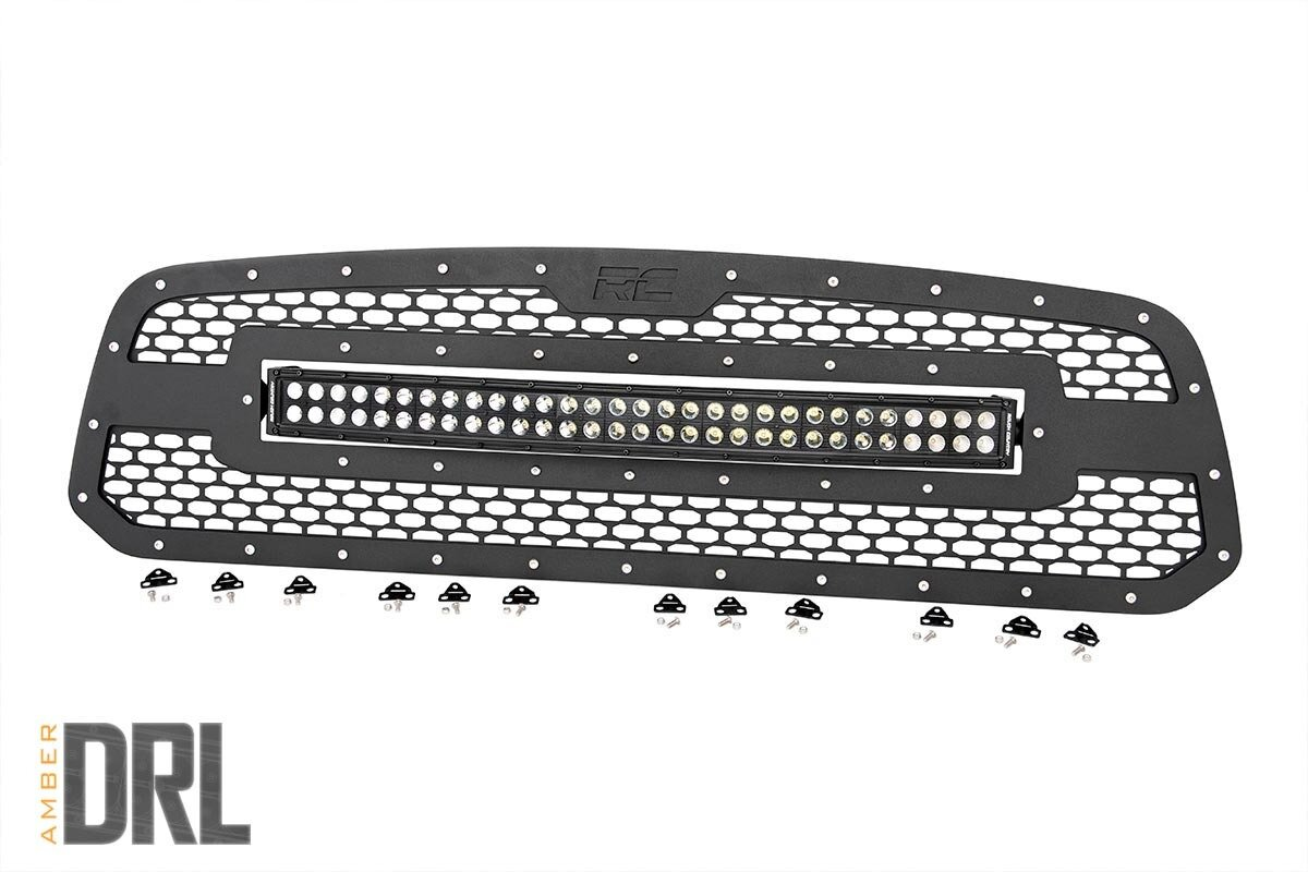 Dodge Mesh Grille | 30in Dual Row Black Series LED w/ Amber DRL (13-18 Ram 1500)