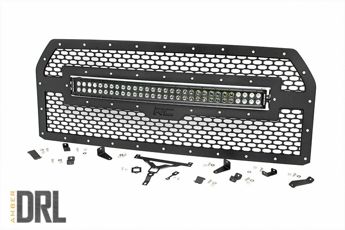 Ford Mesh Grille | 30in Dual Row Black Series LED w/ Amber DRL (15-17 F-150)