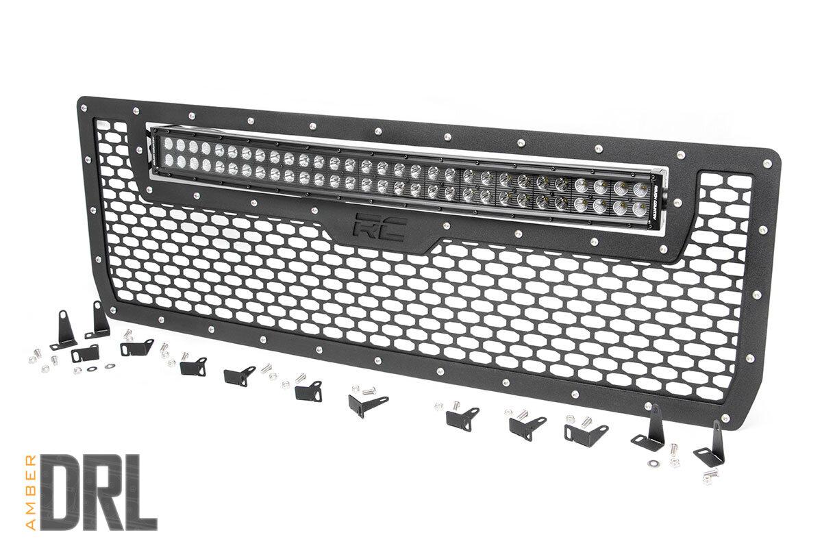 GMC Mesh Grille   30in Dual Row Black Series LED w/ Amber DRL (14-15 Sierra 1500)