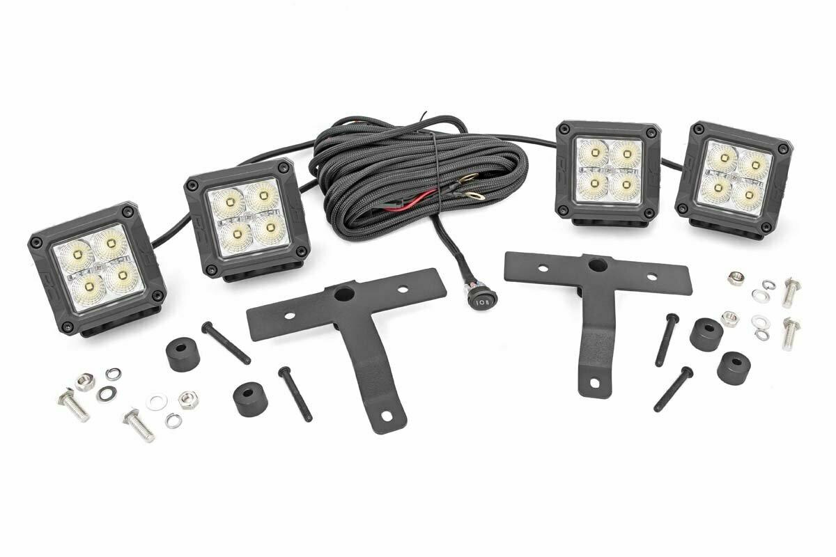 Jeep Quad LED Light Pod Kit - Chrome Series w/ White DRL (18-20 JL / 2020 Gladiator)