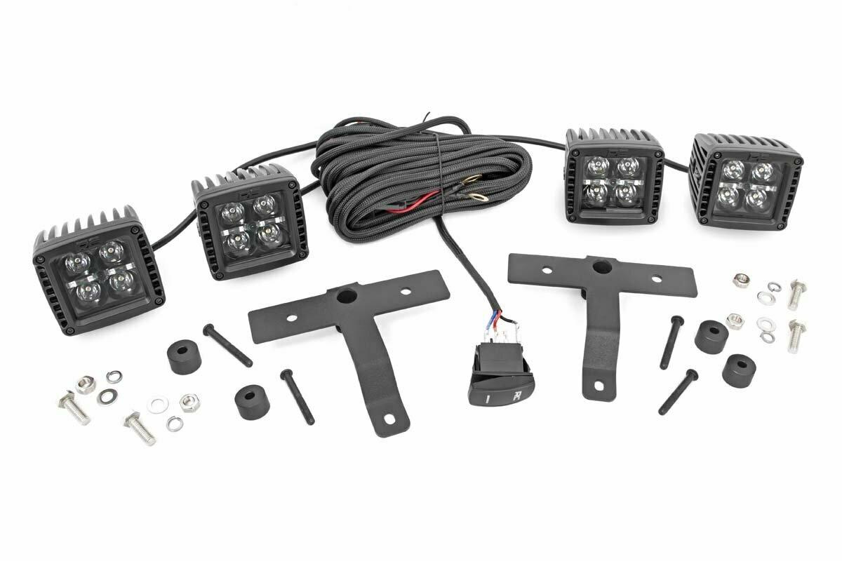 Jeep Quad LED Light Pod Kit  - Black Series w/ Amber DRL (18-20 JL / 2020 Gladiator)