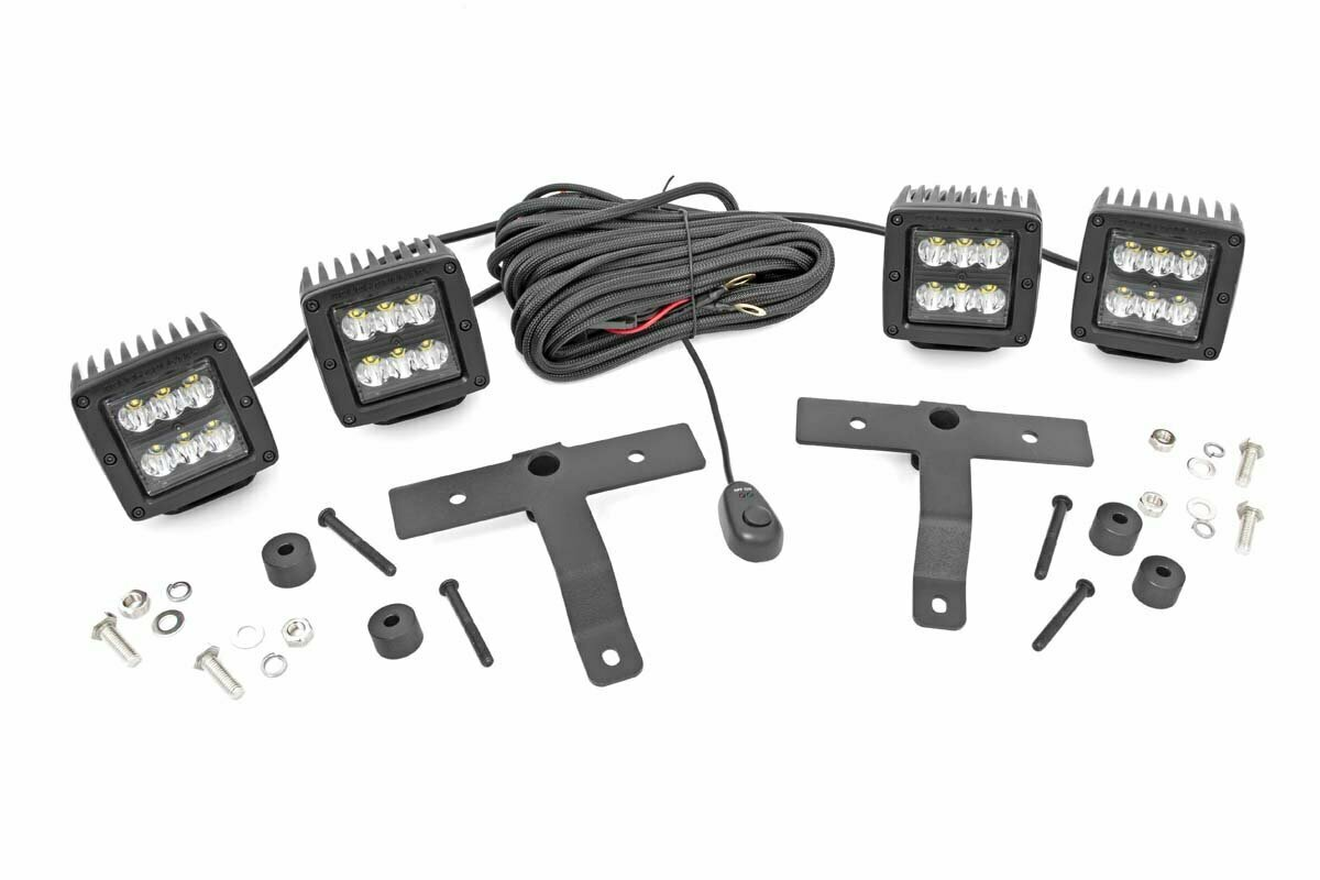Jeep Quad LED Light Pod Kit  - Black Series (18-20 JL / 2020 Gladiator)