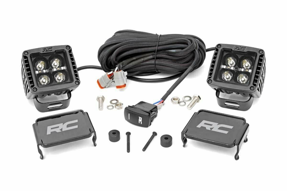 Jeep 2-inch LED Cube Easy-Mount Kit (18-20 Wrangler JL / 2020 Gladiator)-Black Series w/ White DRL