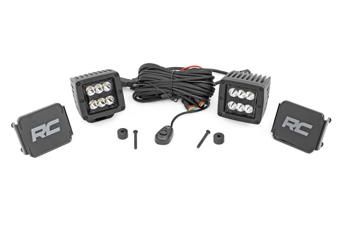 Jeep 2-inch LED Cube Easy-Mount Kit - Black Series (18-20 Wrangler JL / 2020 Gladiator)-Black Series